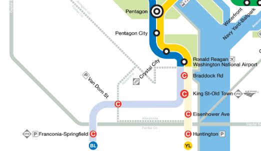 Map of closed Metro Stations